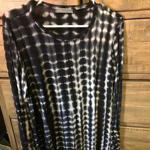 Long Sleeve Black Tie Dye Dress